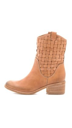 Stacked heel woven boots...very unique