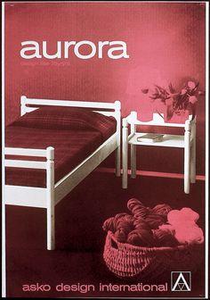Asko design international, aurora sänky, Design Ilse Töyrylä - Askon vanha mainos