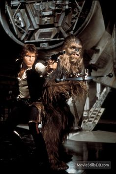 Harrison Ford and Peter Mayhew as the voice for Chewbacca Star Wars 1977 Star Wars I, Film Star Wars, Star Wars Han Solo, Harrison Ford, Disney Pixar, Anniversaire Star Wars, Han Solo And Chewbacca, Star Wars Episode Iv, Star Wars Pictures