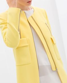 Zara Coat with Pockets in Yellow | Lyst