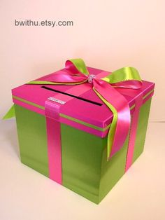 wouldn't pay this much, but love the idea! Lime Green n Hot pink/Fuchsia Wedding Card Box by bwithustudio, $62.00