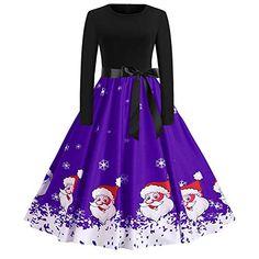 TIFIY Damen Weihnachtskleid, Frauen Langarm Druck Vintage Kleid Party  Clubbing eleganten Kleid Rock Swing Kleid Abendkleider(A c,EU 36 5228e19eb1
