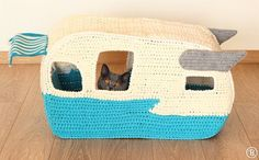 PATTERN: On the Road House pet crochet bed cat cave by BuddyRumi