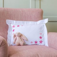 NEW baby pillowcase with hand embroidered star cluster in two corners.Also available in blue. 30cm x 40cm 100% cotton, 200...