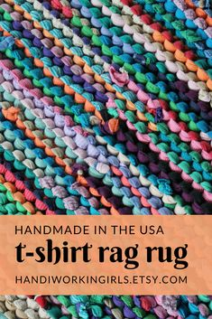 Our springtime-inspired rag rug features melon, coral, turquoise, purple, pink, tan, and navy blue: https://www.etsy.com/listing/79884762/rag-rug-t-shirt-rug-coral-melon-pink
