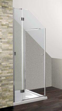 A bespoke made to measure semi frameless shower enclosure in a loft conversion. #LoftShowerDoors #AngledLoftShowers
