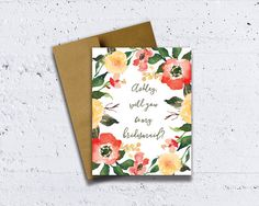 Red and Yellow Floral Bridesmaid Card handmade by HeartwoodPaperie!  To view more, please go to heartwoodpaperie.etsy.com  #heartwoodpaperie