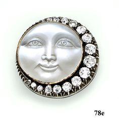 "Moonstone cameo, diamond, silver and gold ""Man ..."