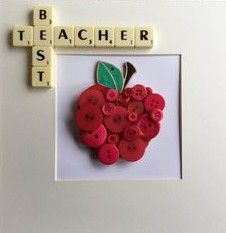 Handmade button craft using scrabble letters and hand painted apples. Perfect teacher gifts for your end of year presents! Scrabble Kunst, Scrabble Tile Crafts, Scrabble Art, Button Art, Button Crafts, Craft Gifts, Diy Gifts, Handmade Teacher Gifts, Teacher Thank You Gifts