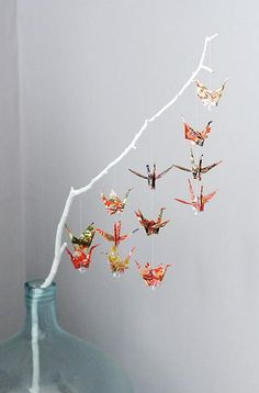 Imagine a wish tree with dozens of cranes and crystals on it !