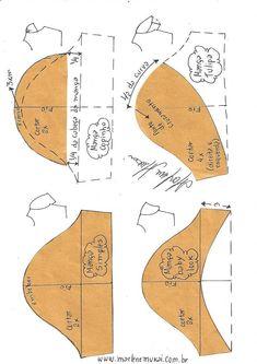 Transformação de mangas - DIY - molde, corte e costura - Marlene Mukai Sewing Dress, Sewing Sleeves, Dress Sewing Patterns, Sewing Clothes, Clothing Patterns, Sewing Hacks, Sewing Tutorials, Sewing Crafts, Sewing Tips