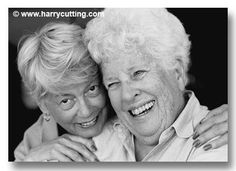 Two elderly women friends embracing - elderly people K135-28 Photo ...