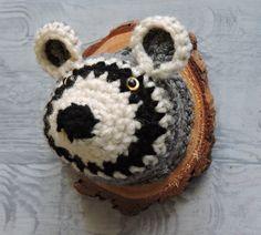 Raccoon Head Faux Taxidermy crochet woodland by outofthedoor