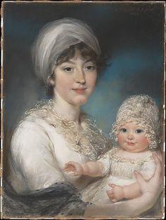 Mrs. Robert Shurlock (Henrietta Ann Jane Russell, 1775–1849) and Her Daughter Ann by John Russell, 1801 England, the Met Museum