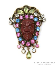 green marquis rhinestones. Circa 1948.  For price inquiry e-mail us at vintagecollection@caroletanenbaum.com  #vintagecostumejewelry #vintage #jewelry #hobe #pin #caroletanenbaum