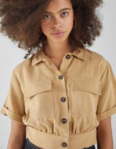 Tencel shirt with pockets - Bershka  fashion  product  accesories  cool   trend 25b9bf82f3f