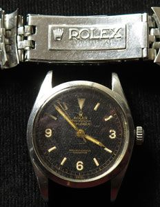 This watch sold a few days ago at an obscure UK auction house. Its pre-sale estimate was £800-£1,000. It hammered for £23,000. Unfortunately I wasn't the only one who figured out it's one of the MEGA-RARE first-edition Rolex Explorer 6150s, the same type Sir Edmund Hillary wore when he became the first person to successfully climb Mt. Everest. I was hoping to land the watch deal of the decade, but alas, somehow word got out about it...