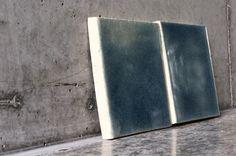 Handmade blue crackle on bare concrete backdrop. Such a cool colour combination. #handmade #tiles
