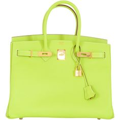Pre-Owned Hermes Birkin Bag 35cm Candy Kiwi Epsom Gold Hardware ($32,150) ❤ liked on Polyvore featuring bags, handbags, kiwi, embossed leather handbags, multi color purse, multi colored leather handbags, leather handbags and green leather purse