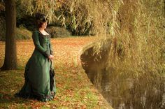Green victorian natural form gown. Photo by Teddy is Evil, model Lady Katherina.
