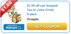 $1.00 off one Snapple Tea or Juice Drink, 6-pack  New coupons and deals for active seniors daily at www.SeniorSpotChicago.com