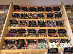 A section of our gemstone display in the shop – natural tumblestones – Alchemy Fashion - Space Crystal Magic, Crystal Shop, Crystal Gifts, Vendor Displays, Market Displays, Crystals And Gemstones, Stones And Crystals, Witch Store, Metaphysical Store