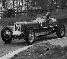 Thai Prince Birabongse practices for a motor race at Crystal Palace, driving an ERA