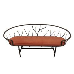 Unique Iron Bench with Faux-Suede Seat - $1,800 Est. Retail - $300 on Chairish.com