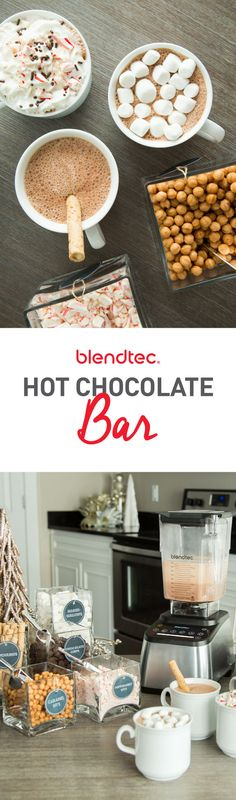 Learn how to host the best Hot Chocolate Bar Party for your friends & family! We have the best blender hot chocolate recipe, free printable tags & sign, a list of add-ins & more.