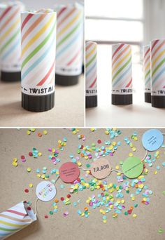 Alternative Wedding Invitations and Save the Dates: DIY party poppers