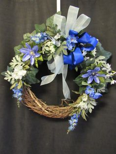 Blue Wreath Fall Wreath Blue Grapevine by MnMadeWreathsNThings