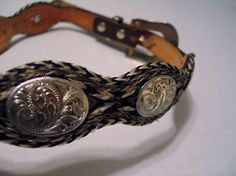 Circle Y Ranch Texas Hand Tooled Horsehair Belt Lady Sz 30 Concha Accent Scallop #CircleYRanch #Western