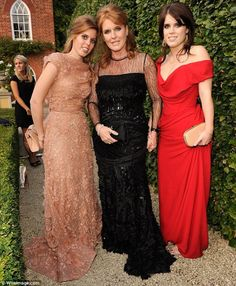 Sarah Ferguson and her daughters Princess Beatrice and Princess Eugenie