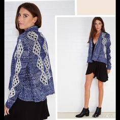 NWT Boho Blue Cardigan Sz M Cozy up in this super soft—and cute!—wrap cardi! It features a mixed open marled knit body with lacy contrast detail, a slouchy fit, and ribbed . Bust  Open Front Long Sleeves Lightweight Cotton / Acrylic Machine Wash Sweaters Cardigans