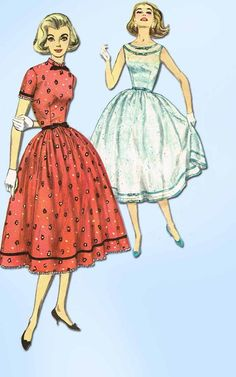 1950s Vintage Simplicity Sewing Pattern 2333 Uncut Misses Sun or Day Dress 32 B