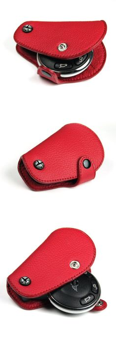 MINI COOPER R55, R56, R57, R58, R59, R60, R61 KEY FOB RED  We all know our beloved MINI keys finish can wear and get damaged over time.  This is why we have developed our leather key protector.  Simple, stylish and customizable.  Choose from 4 colors and pick the insert badge expression of your choice.