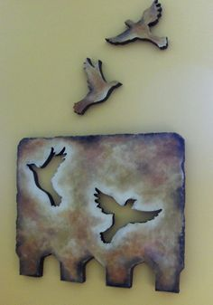 Clever Cut-Outs - Sunrise Scatter Art Plaque - Original Styro Art - Textured Painting : Clever Cut-Outs - Sunrise Scatter Art Plaque - Original Styro Art - Textured Painting Ceramic Wall Art, Ceramic Birds, Ceramic Animals, Ceramic Clay, Hand Built Pottery, Slab Pottery, Ceramic Pottery, Ceramics Projects, Clay Projects