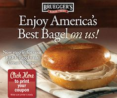 FREE Bagel With Cream Cheese at Brueggers on 2/7