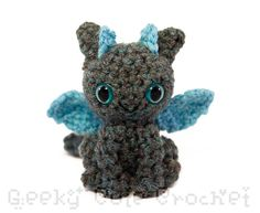 Dragon+Amigurumi+Crocheted+Plush+Toy++Gray+and+by+GeekyCuteCrochet Toothless :)