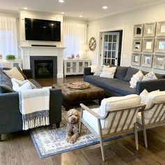 Narrow Living Room, New Living Room, Home And Living, Living Room Couches, Living Room Seating, Narrow Family Room, Cozy Living Rooms, Two Couches, Farmhouse Family Rooms