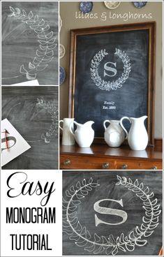 easy monogram tutorial on a #chalkboard