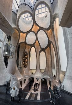 Zeitz MOCAA - The ceiling above the atrium space has large carved tubes underneath the skylight, a remnant of the building's former use as a grain silo.