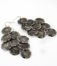 #SheInside Retro Silver Round Dangle Earrings
