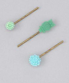 Jen Jen Green Owl Hair Pin Set