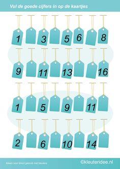 Vul de goede cijfers in op de lege kaartjes, kleuteridee.nl , rekenen met kleuters, free printable.
