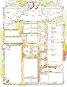 Feywild Character Sheets - D&D Character Sheet Template, Dnd Character Sheet, Pathfinder Character Sheet, Dungeons And Dragons Characters, D&d Dungeons And Dragons, D D Characters, Dnd Druid, Dnd Dragons, Writing Fantasy