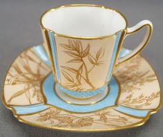 Copeland Aesthetic Gold Floral & Blue Demitasse Cup & Saucer Circa 1851 - 1885. #teatime #coffeetea #teaware #vintagedishes #afternoontea #coffeecups #teacupset #diningroomdecor #kitchendecor #homedecorideas #cupandsaucercrafts #cupandsaucerdisplay #vintagegiftideas #antiqueteacups Tea Cup Set, My Cup Of Tea, Cup And Saucer Set, Tea Cup Saucer, Tea Sets, Antique Tea Cups, Vintage Teacups, Vintage Dishes, Vintage China
