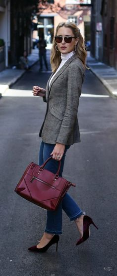 fall winter business casual look: glen plaid blazer, ribbed knit ivory turtleneck sweater, frayed hem cropped jeans, burgundy red velvet pointed toe pumps, burgundy tote bag, gold hoop earrings (olivia palermo x chelsea28)