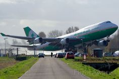 EVA Air Boeing 747-45EM taking off from runway 36L at Amsterdam- Schiphol,Netherlands
