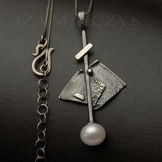 IZA MALCZYK - Zen Garden - White Lantern - srebrny naszyjnik z białą perłą